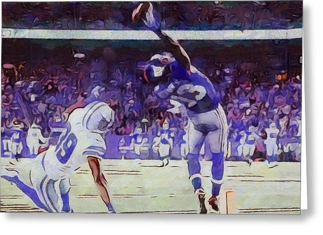 Wide Receiver Greeting Cards - The Greatest Catch Odell Beckham Greeting Card by Dan Sproul