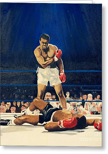 Action Sports Art Greeting Cards - The Greatest  Muhammad Ali Greeting Card by Ronald Young