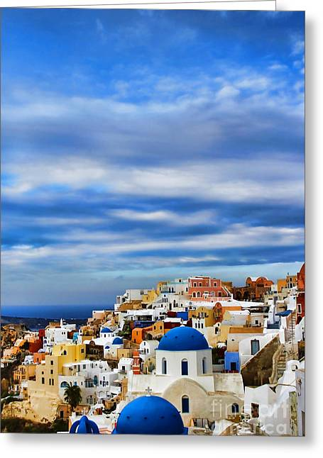 Mediterranean Landscape Greeting Cards - The Greek Isles-Oia Greeting Card by Tom Prendergast