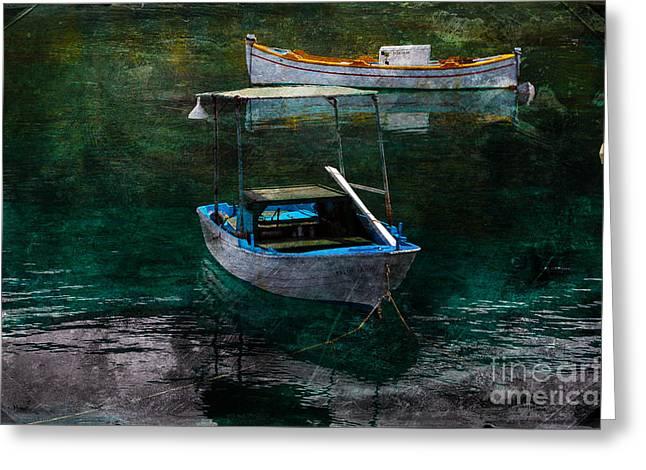 Fishing_boat Greeting Cards - The Greek Way Greeting Card by Randi Grace Nilsberg