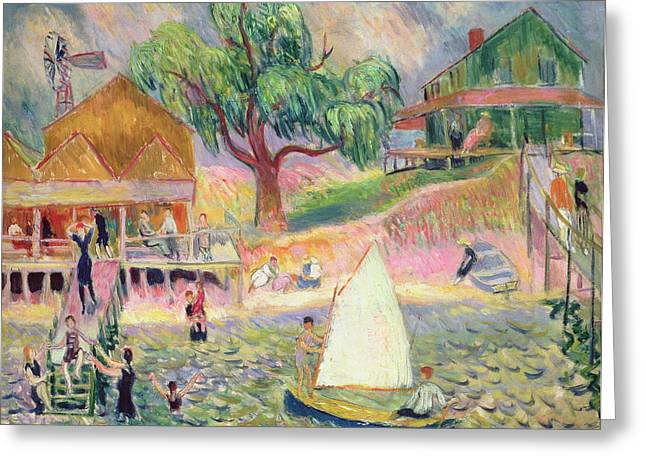 Sailboats Docked Greeting Cards - The Green Beach Cottage Greeting Card by William James Glackens