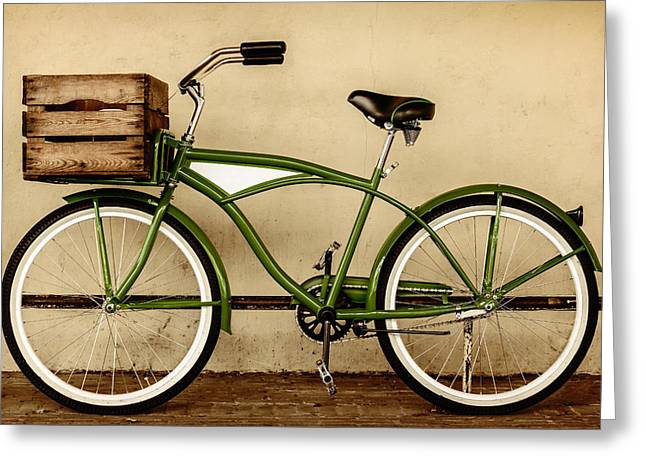 Beach Cruiser Greeting Cards - The Green Bike Greeting Card by Martin Bergsma