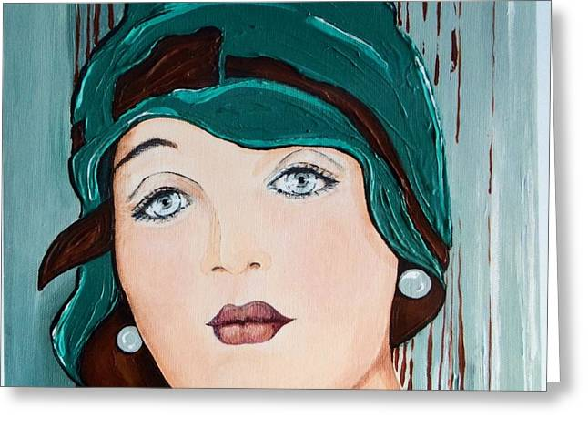 Self-portrait Greeting Cards - The Green Cloche Greeting Card by Barbara Chase
