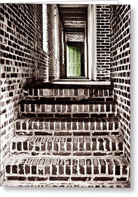 Wooden Stairs Greeting Cards - The Green Door 2 Greeting Card by Marilyn Hunt