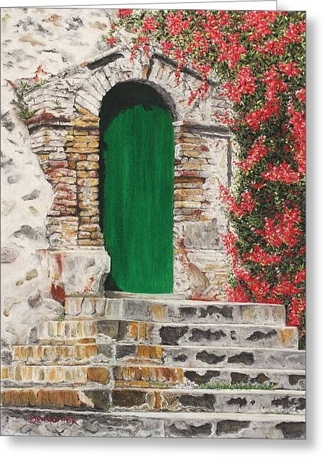 Thomas Pastels Greeting Cards - The Green Door Greeting Card by Angela Bruskotter