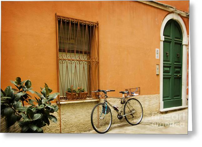 Bicycling Tuscany Greeting Cards - The Green door Greeting Card by Jim  Calarese