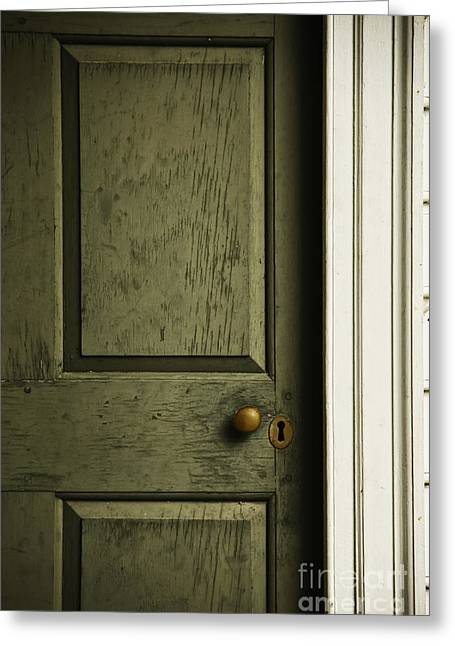 Entrance Door Greeting Cards - The Green Door Greeting Card by Margie Hurwich