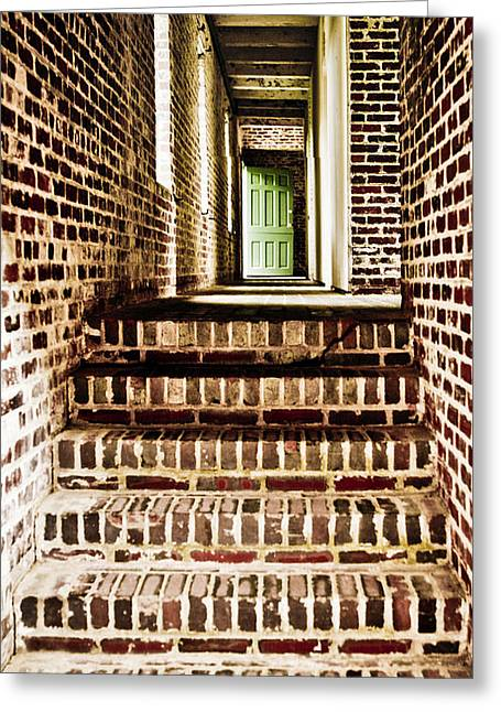 Wooden Stairs Greeting Cards - The Green Door Greeting Card by Marilyn Hunt