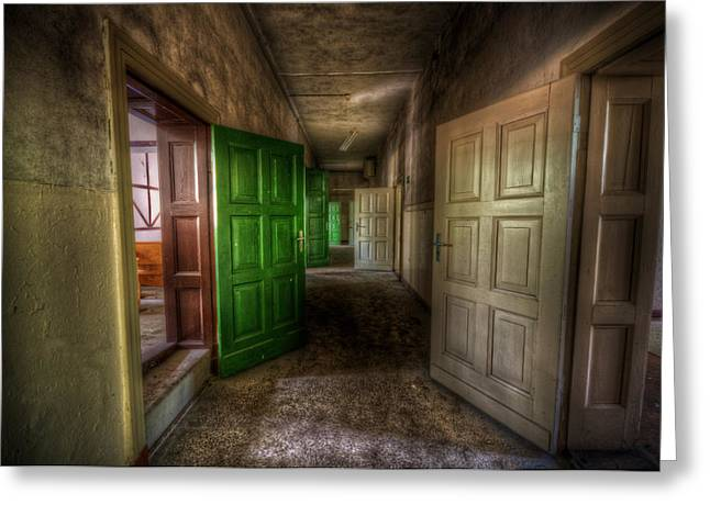 Spooky Door Greeting Cards - The Green Door Greeting Card by Nathan Wright