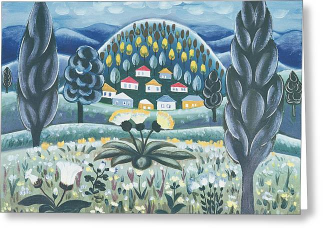 The Green Dreams, 1967 Oil On Canvas Greeting Card by Radi Nedelchev