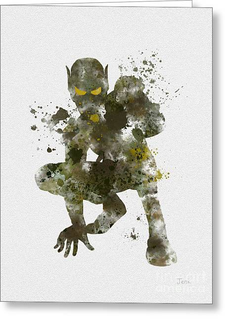 Goblins Greeting Cards - The Green Goblin Greeting Card by Rebecca Jenkins
