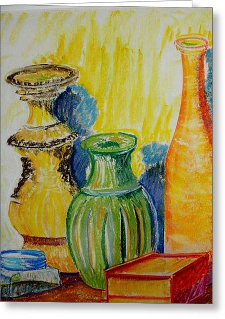 Jugs Pastels Greeting Cards - The Green Jug Greeting Card by Tim  Swagerle