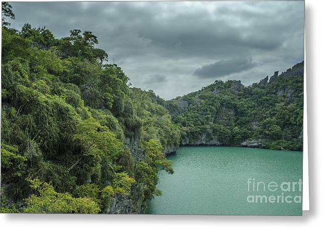 Angthong Greeting Cards - The Green Laguna Greeting Card by Michelle Meenawong