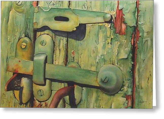 Old Door Greeting Cards - The Green Latch Greeting Card by Greg Halom