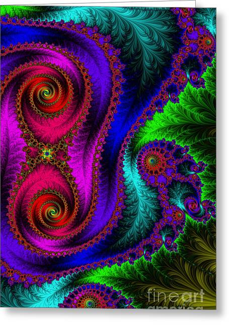 The Green Leaf Fractal Greeting Card by Mary Machare