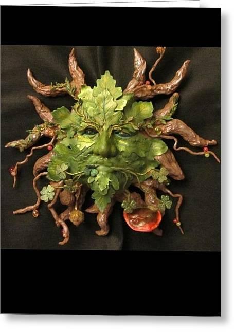 Druidic Greeting Cards - The Green Man Derg Corra Greeting Card by Julia Gatti