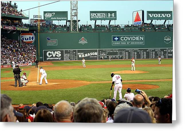 Fenway Park Greeting Cards - The Green Monster Greeting Card by Christopher Miles Carter