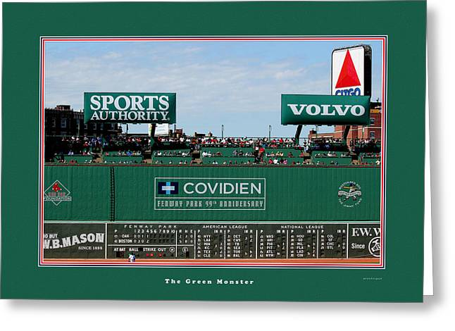 Art Websites Greeting Cards - The Green Monster Fenway Park Greeting Card by Tom Prendergast