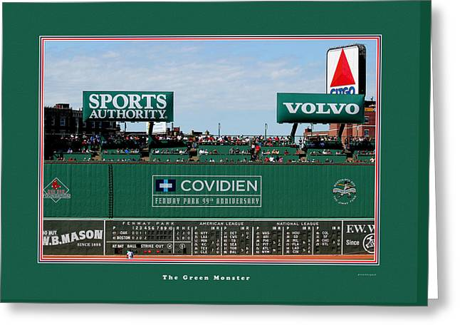 Red Sox Art Greeting Cards - The Green Monster Fenway Park Greeting Card by Tom Prendergast