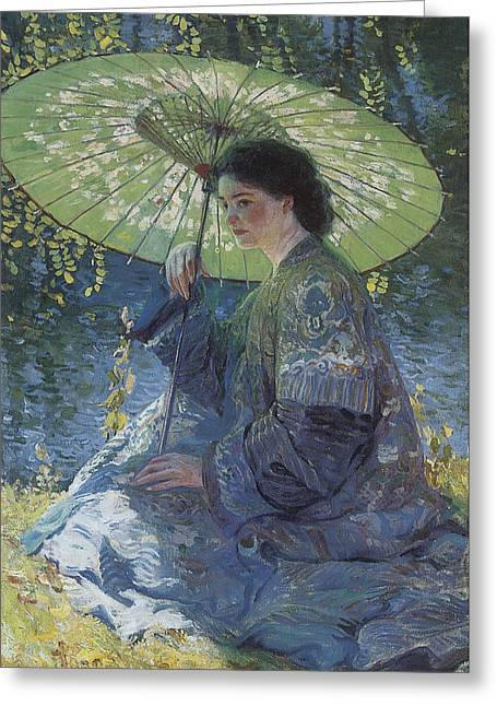 Women With Roses Greeting Cards - The Green Parasol Greeting Card by Guy Rose
