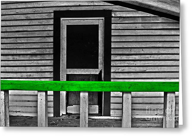 Screen Doors Greeting Cards - The Green Rail Greeting Card by Rick Bravo