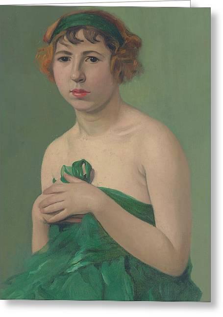 The Green Ribbon Greeting Card by Felix Edouard Vallotton