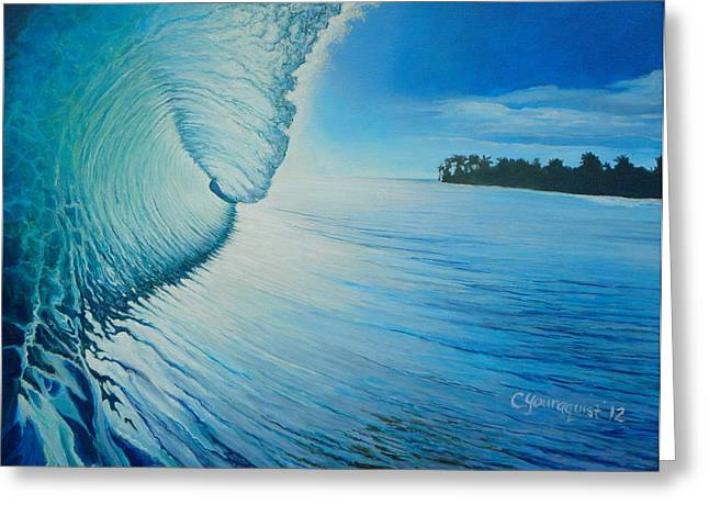 Surfing Art Greeting Cards - The Green Room Greeting Card by Camille Youngquist