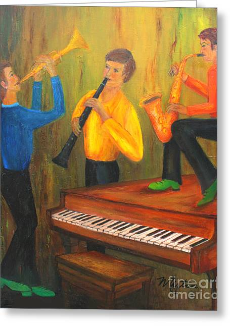 Quartet Paintings Greeting Cards - The Green Shoe Quartet Greeting Card by Larry Martin