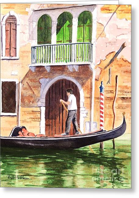 Light And Dark Greeting Cards - The Green Shutters - Venice Greeting Card by Bill Holkham