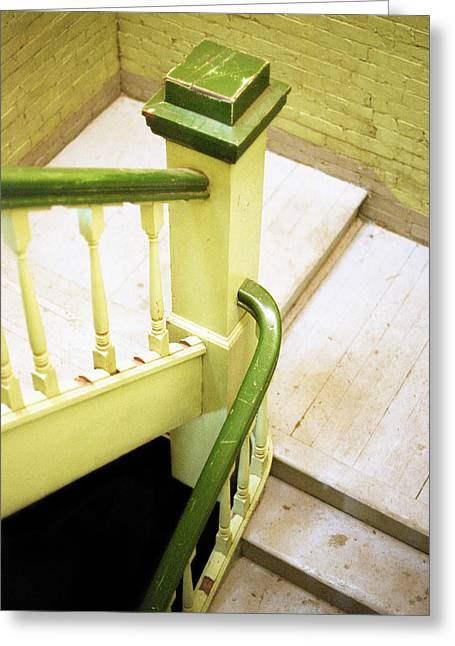 Flight Of Stairs Greeting Cards - The Green Stairwell Greeting Card by Jennifer Atherton