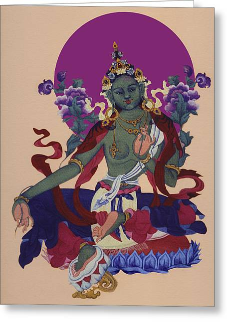 Bhutanese Art Greeting Cards - The Green Tara Greeting Card by Deirdre Donovan