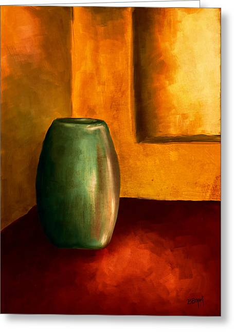 Brenda Bryant Paintings Greeting Cards - The Green Urn Greeting Card by Brenda Bryant