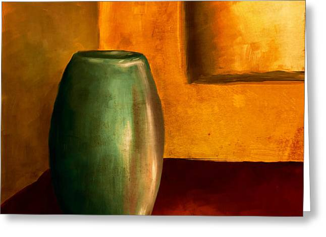 The Green Urn Greeting Card by Brenda Bryant