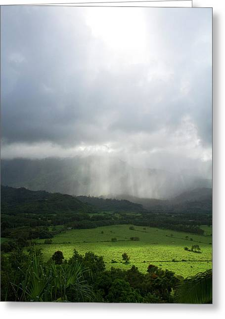 The Green Valley Surrounding Hanalei Greeting Card by David R. Frazier