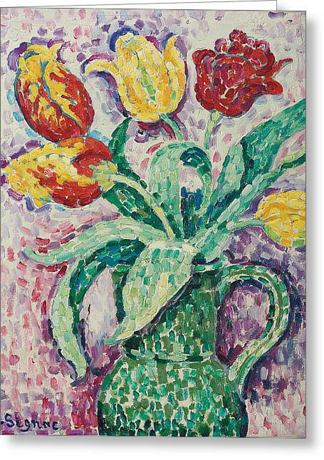 In Bloom Greeting Cards - The Green Vase Greeting Card by Paul Signac