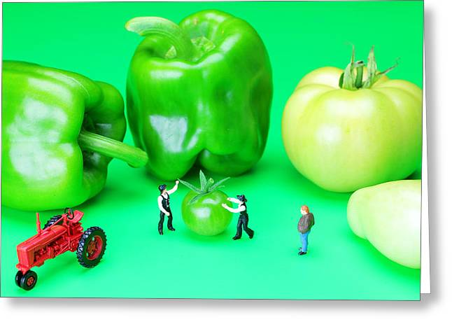 Creative People Greeting Cards - The Green Vegetables little people on food Greeting Card by Paul Ge