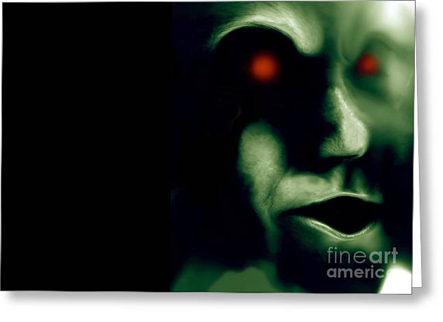 Xfiles Greeting Cards - The Green Visitor Greeting Card by Bruce Stanfield