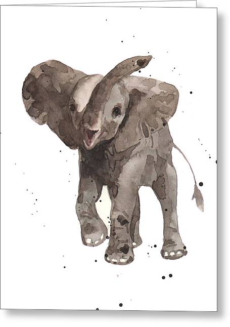 Nursery Decor Greeting Cards - The Greeter Elephant Greeting Card by Alison Fennell
