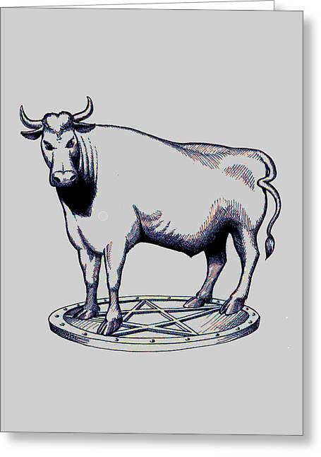 Steer Mixed Media Greeting Cards - The grey bull Greeting Card by Magdalena Walulik