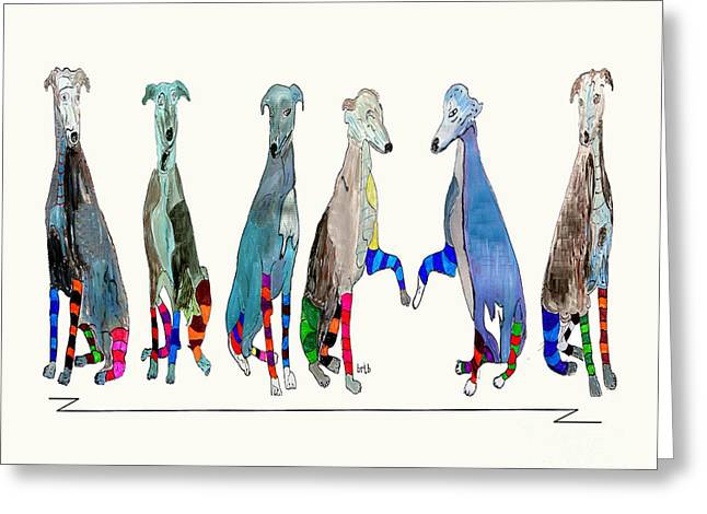 Greyhound Dog Drawings Greeting Cards - The Greyhounds Greeting Card by Bri Buckley