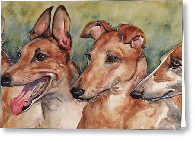 Greyhound Greeting Cards - The Greyhounds Greeting Card by Maria