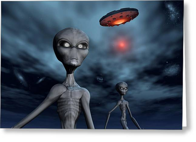 Abduction Digital Art Greeting Cards - The Greys.1. Greeting Card by Mark Stevenson