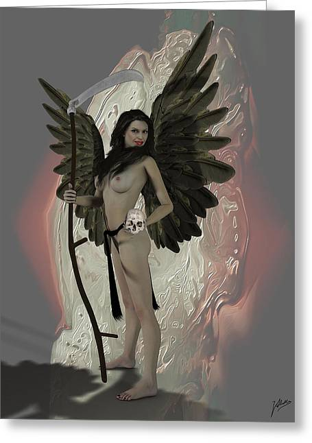 Archangel Digital Art Greeting Cards - The Grim Reaper.  Greeting Card by Joaquin Abella