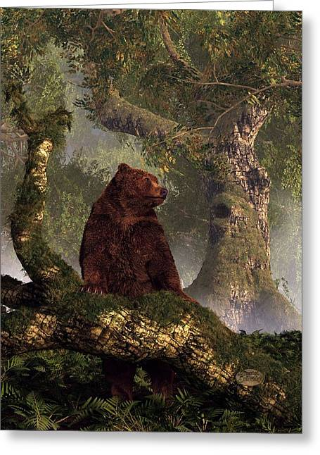American Brown Bear Greeting Cards - The Grizzlys Forest Greeting Card by Daniel Eskridge