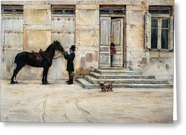 Dog Handler Greeting Cards - The Groom  Greeting Card by Giuseppe De Nittis