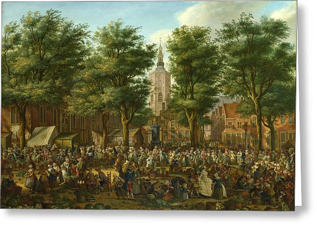 Markt Greeting Cards - The Grote Markt at The Hague Greeting Card by Paulus Constantijn La Fargue