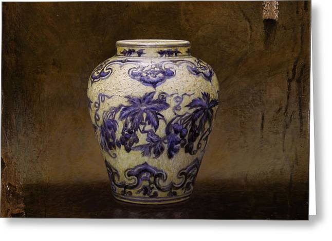 Asian Ceramics Greeting Cards - The Guan Vase Greeting Card by Bruno Capolongo