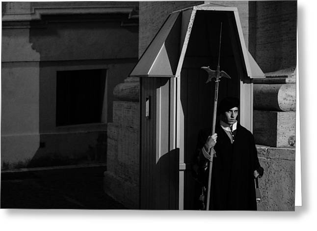 Swiss Guard Greeting Cards - The Guard Greeting Card by David Rucker