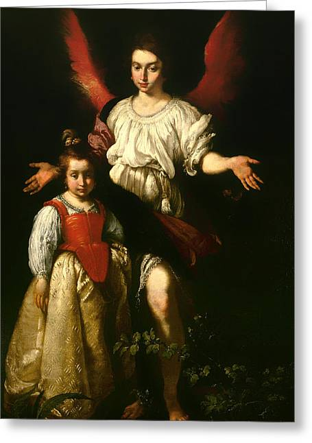 Religious Artwork Paintings Greeting Cards - The Guardian Angel Greeting Card by Bernardo Strozzi