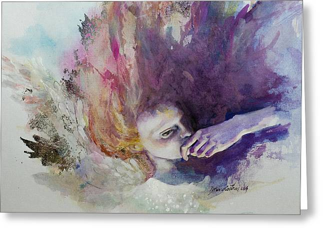 Flying Mixed Media Greeting Cards - The Guardian Angel Greeting Card by Dorina  Costras